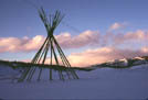 Tipi frame at sunset